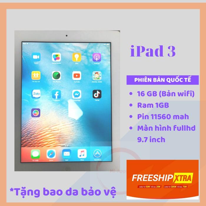 iPad 3 CHÍNH HÃNG Apple bản wifi 16GB Bh 6 THÁNG 1 đổi 1 tại nhà trong 30 ngày