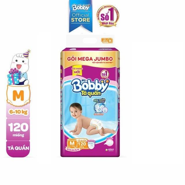 Tã quần Bobby siêu thoáng bịch Mega Jumbo M120/L111/XL102/XXL93