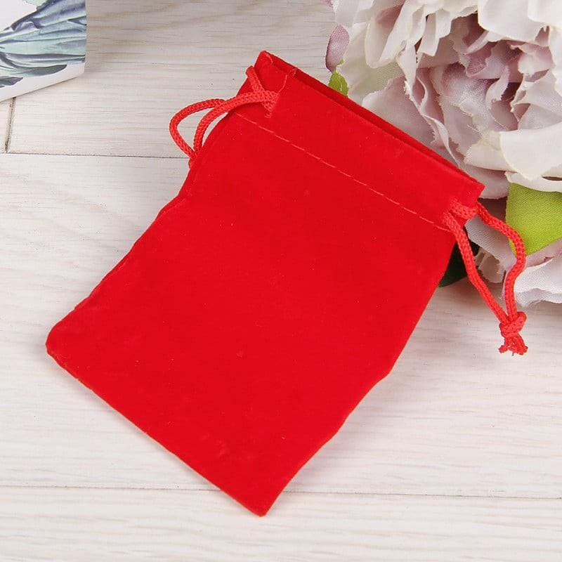 Túi nhung đỏ dây rút 10*12cm