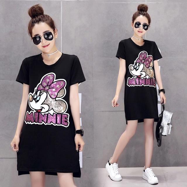 Đầm big size màu đen kim sa 4XL 70-80kg hình Minnie