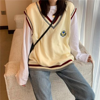 Loose college style color matching V-neck sleeveless knitted vest,cheap borong of Koreanfashion women's clothing readystock 11111