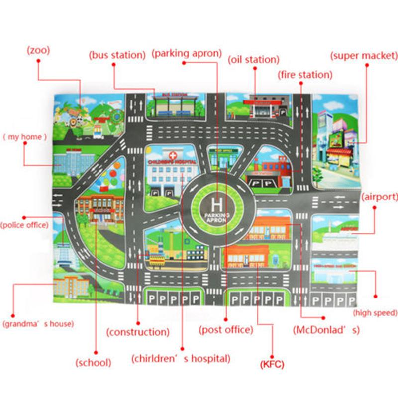 Child Play Mat City Road Buildings Parking Map Game Scene Map Educational Toy