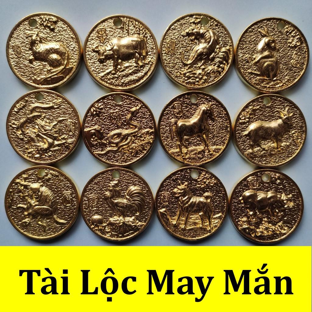 1 Đồng xu con giáp phong thủy mang tài lộc may mắn dùng làm mặt dây chuyền, móc khóa, bỏ ví