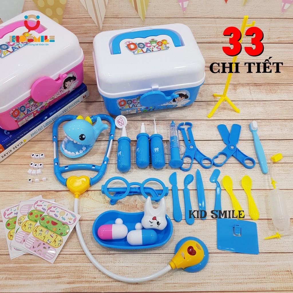Đồ chơi bác sĩ nha sĩ 33 chi tiết 2 màu xanh – hồng cho trẻ em từ 2-6 tuổi nhựa ABS cao cấp