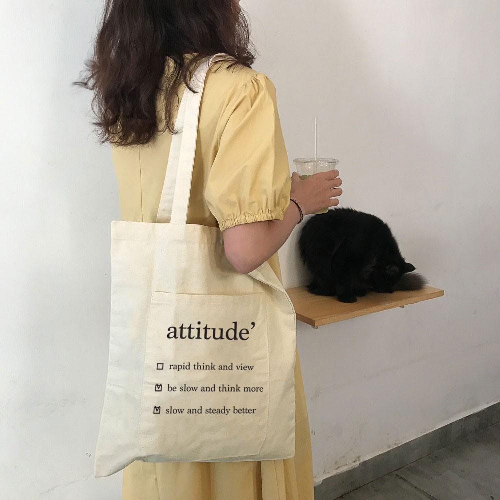Túi Vải Cỡ Lớn Attitude Có Ngăn Ngoài