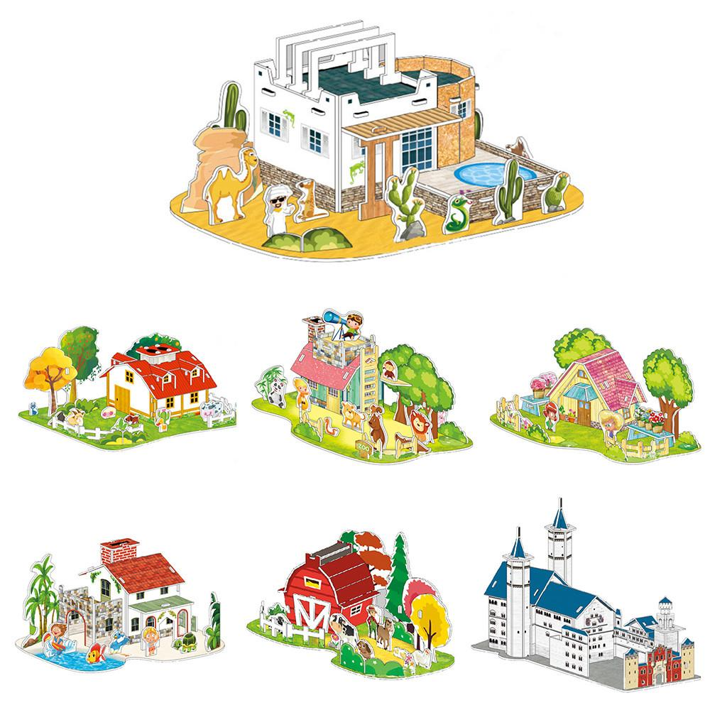 【COD】😺Paper Board Puzzle Early Learning Construction Assemble Home Decoration