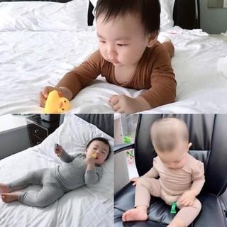 Bộ Minky Mom cạp cao tay dài cho bé [GIÁ HỦY DIỆT] đồ bộ Minky ngủ dài tay thu đông cho bé mẫu trơn HOT, thun lạnh