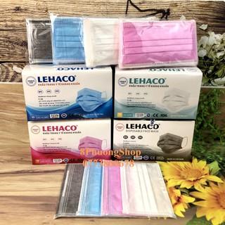 Khẩu trang y tế Lehaco 4 lớp màu Kháng khuẩn Xanh Hồng Trắng Xám 50 cái hộp thumbnail