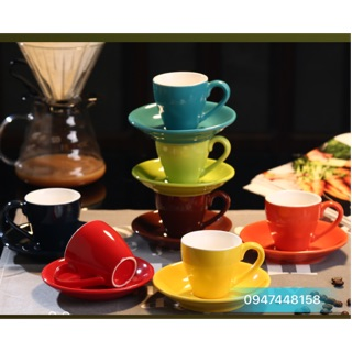 Tách cafe sứ espresso 70ml nhiều màu( kèm đĩa lót )