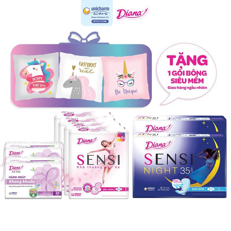 Bộ 4 gói Diana Sensi siêu mỏng cánh 8 miếng+2 gói Diana Sensi hàng ngày 20 miếng+2 gói Diana Sensi Night 35cm 3m