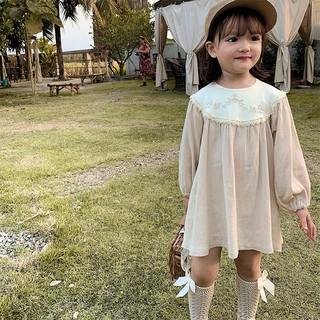 Đầm công chúa cổ phối ren tay dài dành cho bé gái