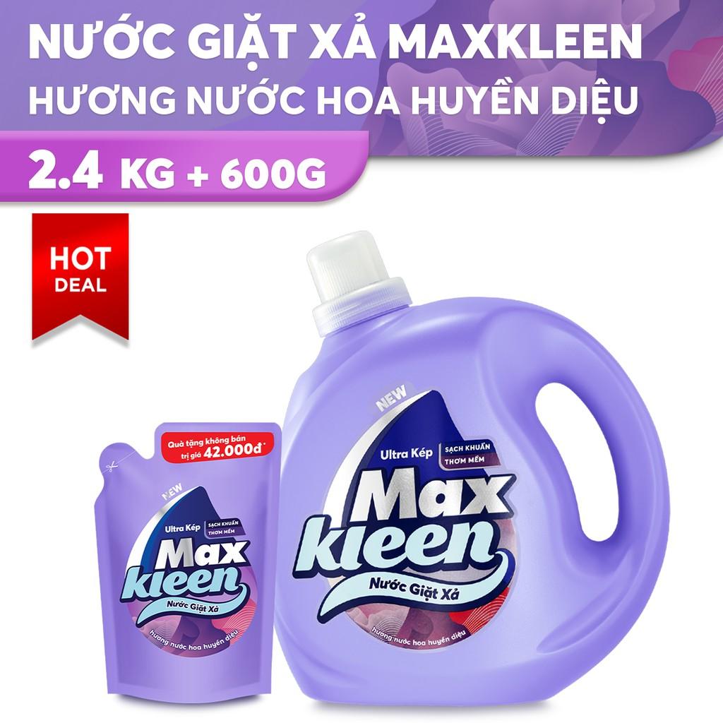 Nước Giặt Xả MaxKleen Hương Nước Hoa Huyền Diệu 2,4kg tặng Túi nước giặt xả 600g