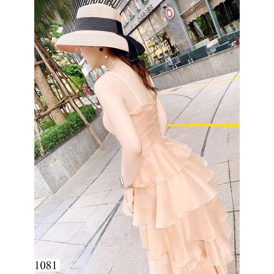 Váy hai dây ngọc 5 tầng V1081 có mút ngực - DVC (kèm ảnh trải san, mẫu mặc, video thật) váy xòe đầm xòe đầm dự tiệc
