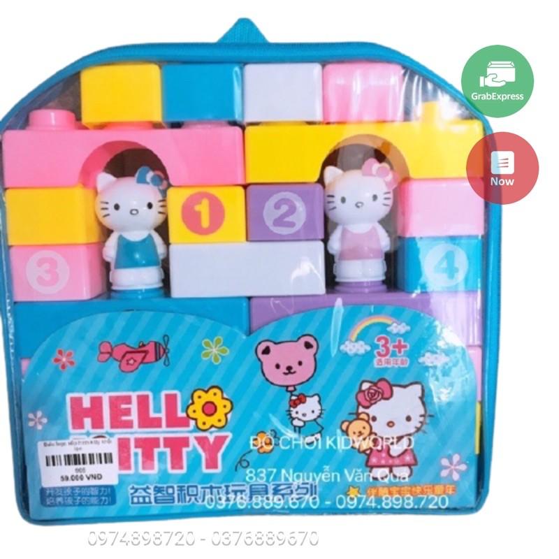 Túi đồ chơi lego xếp hình khối lớn mẫu kitty cực đẹp dành cho bé thích lắp ráp ghép hình sáng tạo