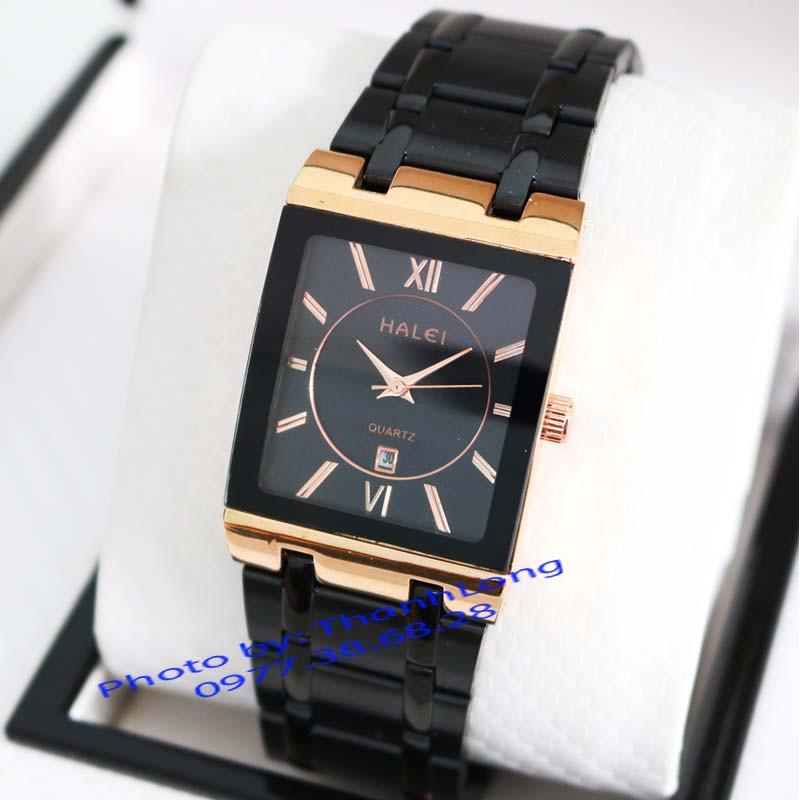 (CHUẨN MEN) Đồng hồ nam HALEI H050604 Đẳng cấp doanh nhân mặt vuông dây thép cao cấp sang trọng