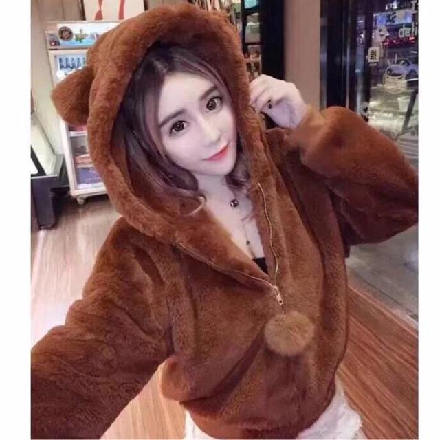 Áo khoác lông tai gấu