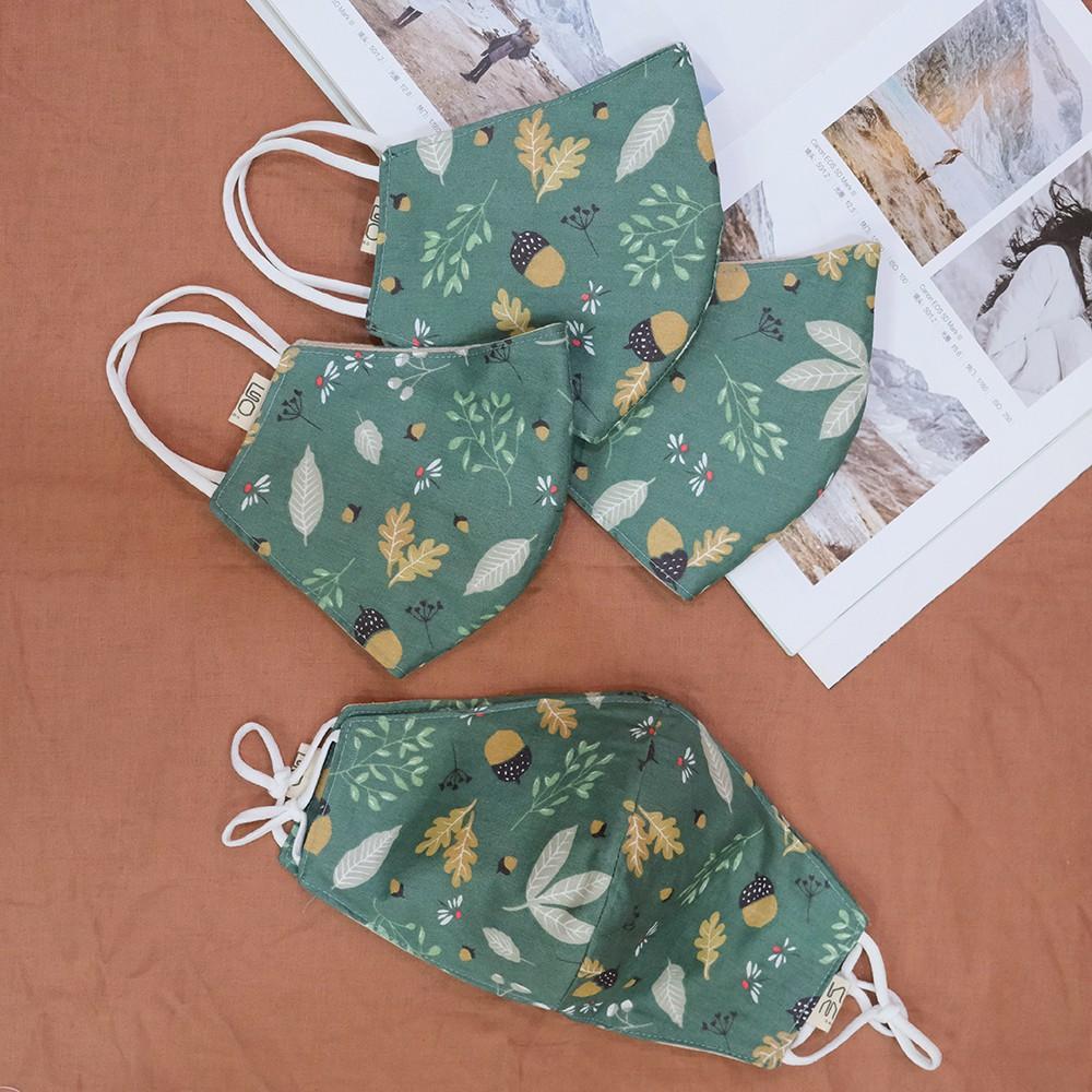 Khẩu trang vải 3 lớp Hạt Dẻ handmade, có nút tăng giảm dây dễ điều ch