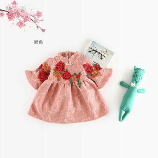 Váy tết thêu lót nỉ cực xinh cho bé gái