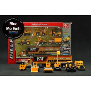 Bộ xe mô hình 7 xe công trình truck xe kéo, xe ủi đất, xe tải, xe lu, xe ben, xe nâng và xe múc thumbnail