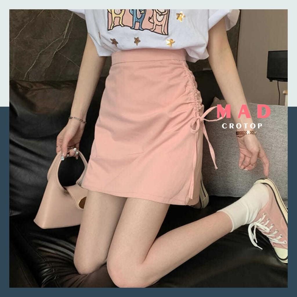 Váy Chữ A Ngắn Phối Dây Rút Bên Hông Tiểu Thư Dễ Thương Trơn MDCROTOP VM108