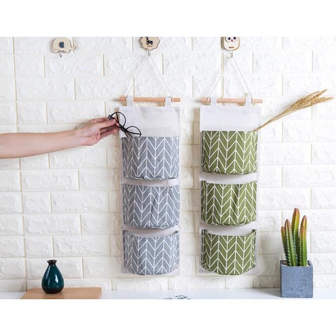 Túi đựng đồ đa năng, giỏ vải treo tường tiện dụng 3 ngăn chia 3 tầng