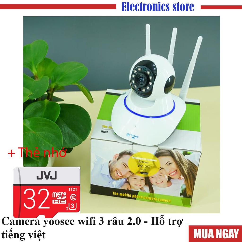 Camera yoosee wifi 3 râu 2.0 - Camera giám sát  có  hỗ trợ tiếng việt,  Kèm thẻ nhớ JVJ  PRO Chất lượng cao, uy tín