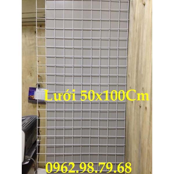 Lưới Sắt 50x100CM Sơn Trắng 1 Tấm, 15C Móc Lưới, 10 Lạt Nhựa, 12 Kẹp Lót