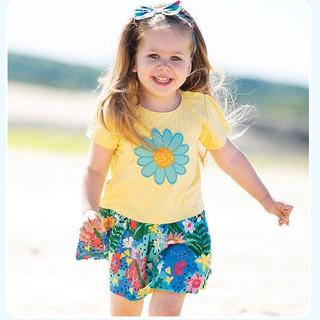 Mã S0909 váy hoa vàng phối cùng tùng váy xanh xinh yêu của Little Maven cho bé gái