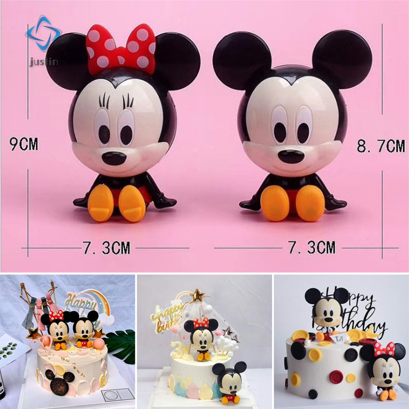 2pcs Carton Micky & Minie Mouse Action Figures for Kids Birthday Cake Decoration Bakery Cakes Topper Supply