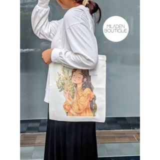 Túi Tote Vải Canvas Thiết Kế, Fullbox, Girl Ôm Hoa, Vải Dày, Có Khóa kéo, Ngăn Nhỏ Bên Trong Miladen Boutique. thumbnail