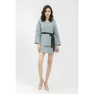 Áo lông cừu xanh cổ tim Elise thumbnail