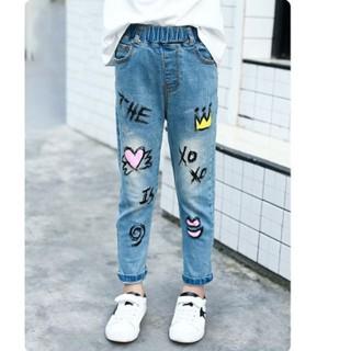 Quần jean lưng thun form dài thêu hình đáng yêu cho bé