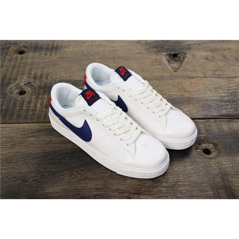 ใหม่ NK SB Dunk Low The White and blue running shoes
