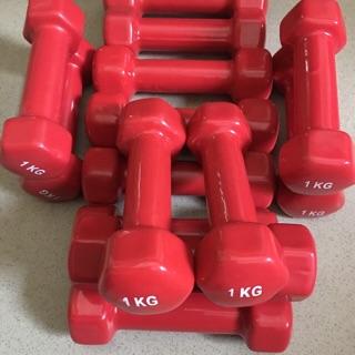 1 Đôi Tạ tay bọc nhựa màu đỏ loại 1 kg