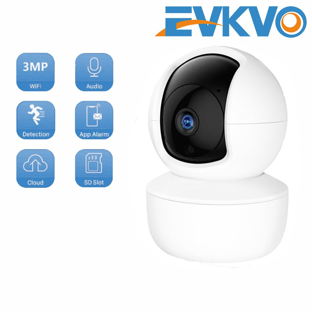 EVKVO - ICSEE APP FHD 3MP Rotate Wireless PTZ IP Canera CCTV WIFI Smart AI Security Surveillance Camera CCTV Baby Monitor Infrared Night Vision Motion Detection Two-Way Audio