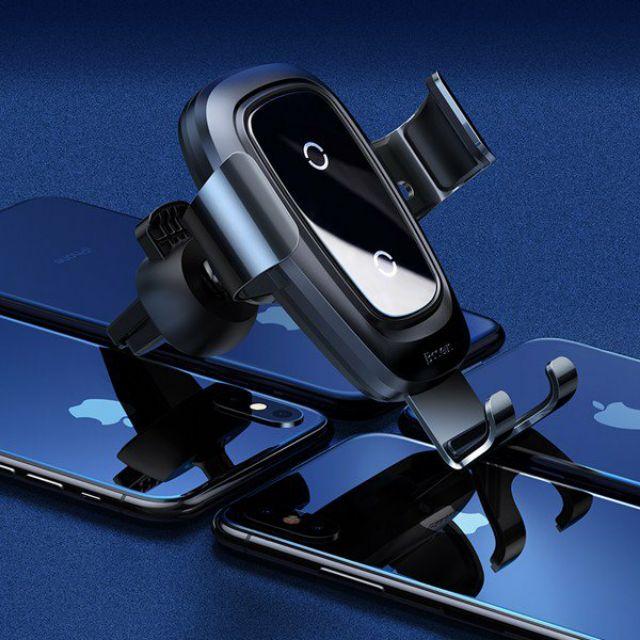 Bộ đế giữ điện thoại tích hợp sạc nhanh không dây dùng cho xe hơi Baseus Metal Wireless Charger Gravity Car Mount