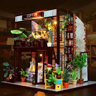 Kèm mica – Mô hình nhà gỗ búp bê dollhouse DIY – M027 The Coffee House