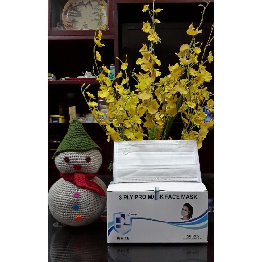 Bộ 5 hộp khẩu trang kháng khuẩn Promask 3 lớp trắng