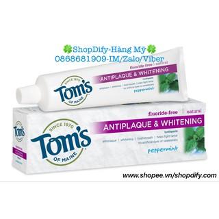 Kem đánh răng tự nhiên của Mỹ làm trắng răng, loại bỏ mảng bám Tom's of Maine Antiplaque & Whitening Fluoride-free 155g