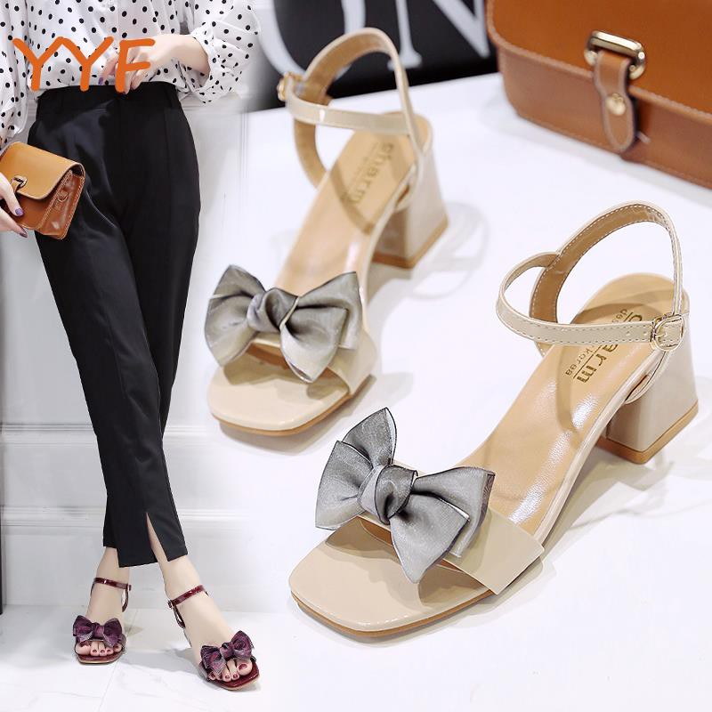 Yf sandals female summer 2019 new wild fairy wind word with bow roman shoes in thick with open toe high heels