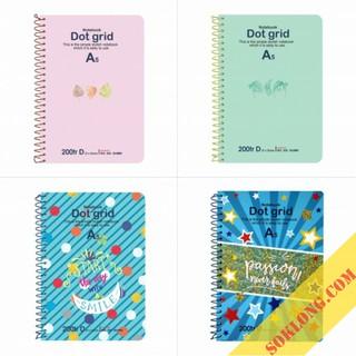 Sổ tay Dot Grid lò xo đơn bìa cứng, ruột sổ chấm A5 Klong-200 trang MS 968 nhiều màu thumbnail