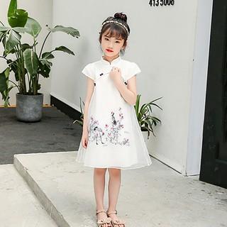 Đầm sườn xám in họa tiết phong cách Trung Hoa dành cho bé gái