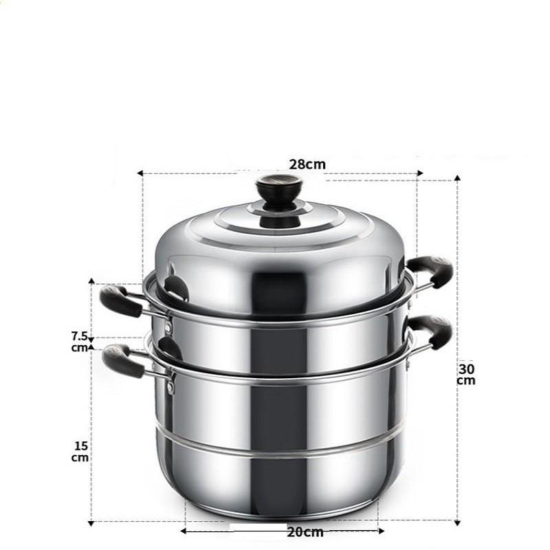 Nồi hấp 3 tầng đường kính 28cm dùng trên mọi loại bếp, Nồi hấp xửng hấp kiêm nồi luộc gà Inox 3 tầng