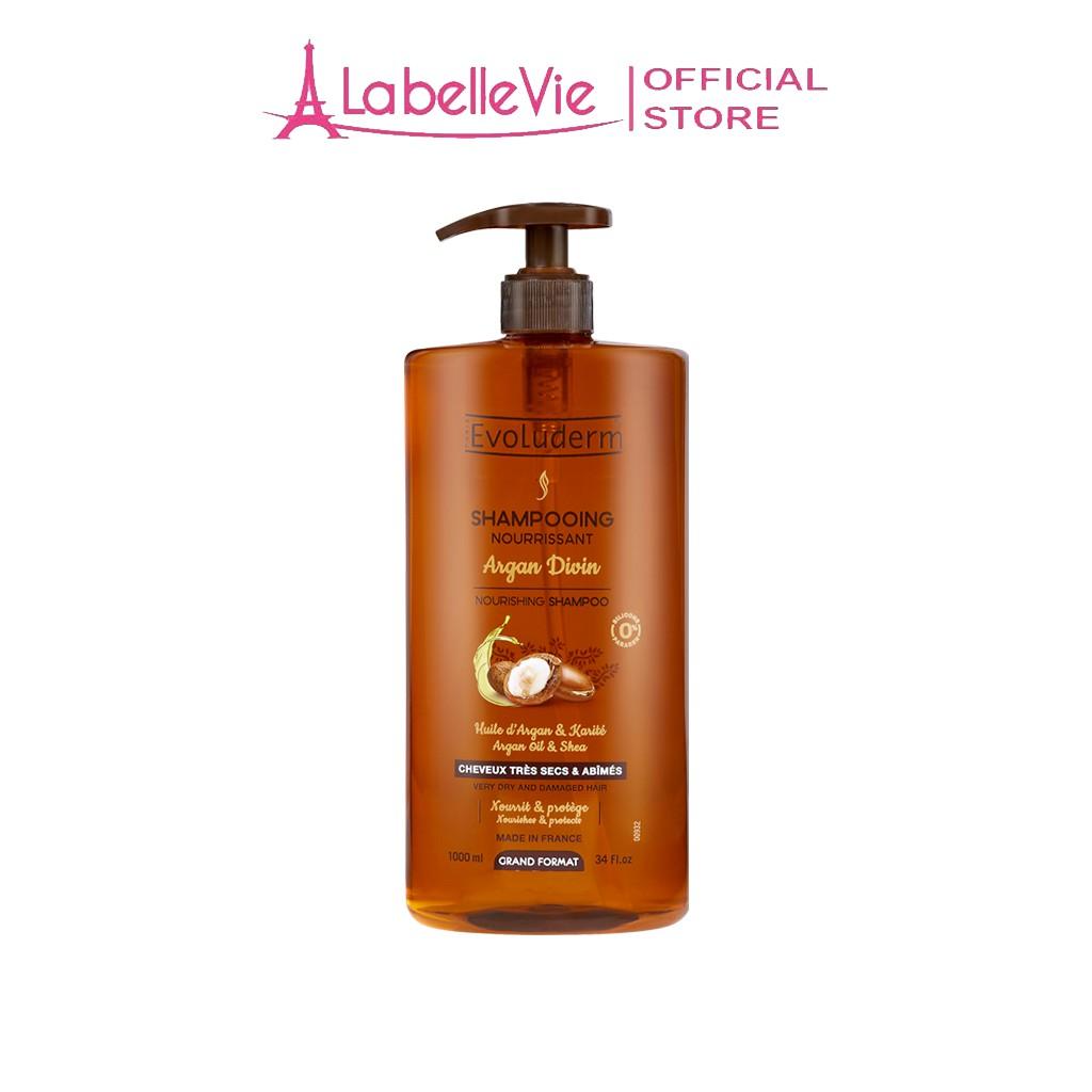 Dầu gội Evoluderm Shampoing Nourrissant Argan Divin dành cho tóc rất khô và bị hư tổn 1000ml