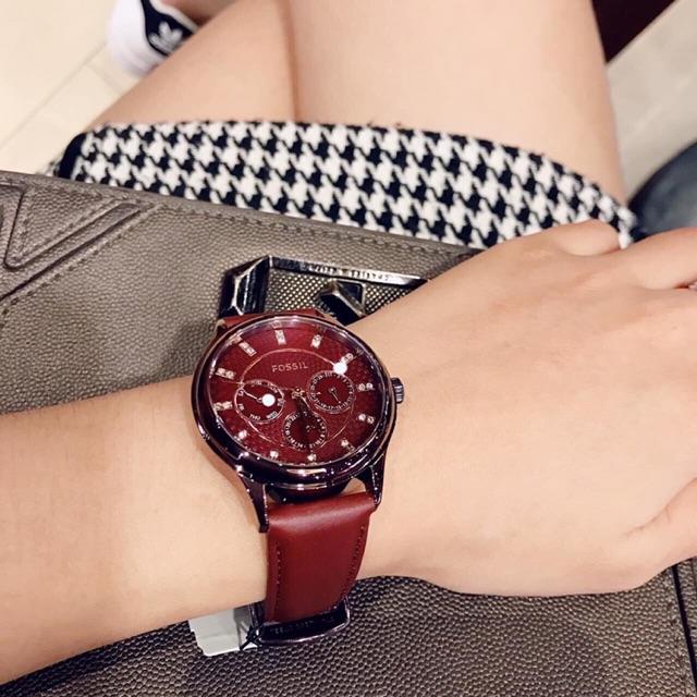 Đồng hồ nữ Fossil BQ3285 chính hãng dây da đỏ cá tính nổi bật