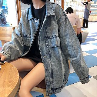 Áo khoác jean dáng rộng tay dài thời trang đường phố cá tính