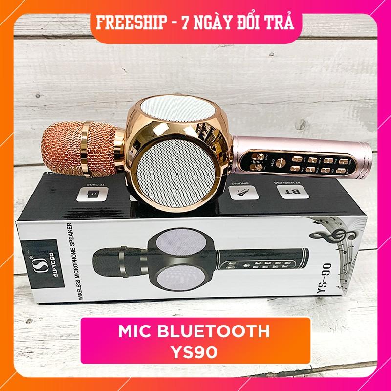 Míc Karaoke Bluetooth/Mic hát MMD YS90 -Tích hợp loa trên thân míc không dây, Siêu bass, Bắt giọng chỉnh tone, Gh