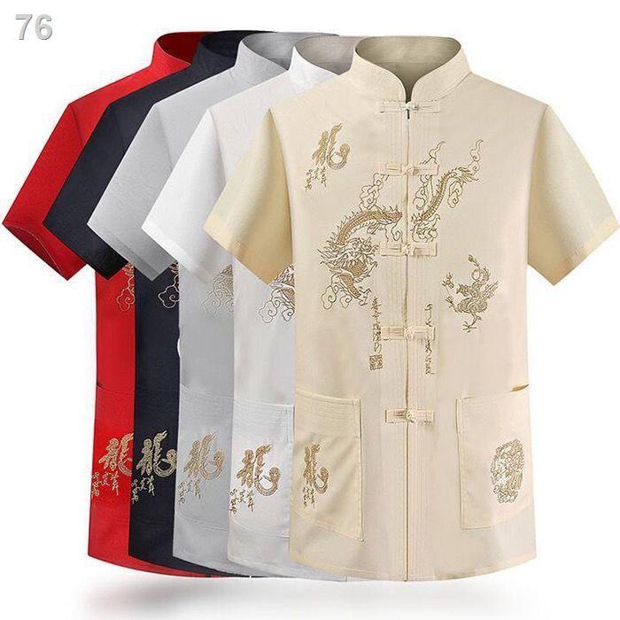 Tang phù hợp với mùa hè người trung niên và người già tay ngắn Người đàn ông mỏng cổ đứng ông nội quần áo mùa hè quốc gi