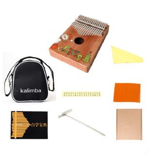 17-key Kalimba Anti-rust Thumb Piano Christmas Pattern Design Delicate Musical Instrument for