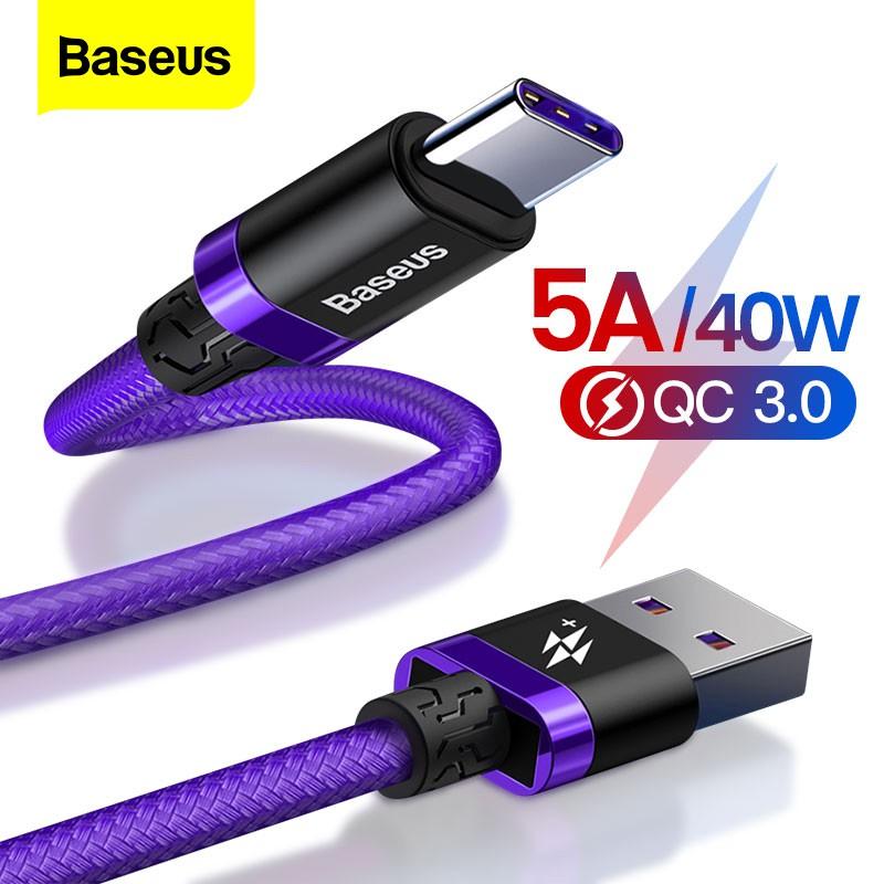 Dây cáp sạc nhanh thương hiệu Baseus 5A cổng USB - Type C chất lượng cao cho Huawei Mate